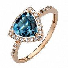 Золотое кольцо Габриэлла с лондон топазом и фианитами