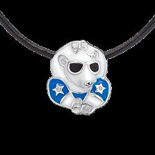 Детское колье Звездный мишка с эмалью и кристаллами Swarovski на кожаном шнурке