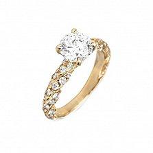 Кольцо в желтом золоте Оливия с бриллиантами