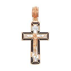 Золотой крестик в комбинированном цвете с черной эмалью 000137838