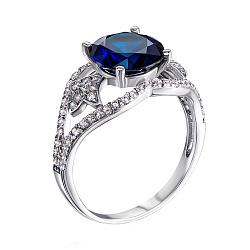 Серебряное кольцо Мадлен с синтезированным сапфиром и фианитами
