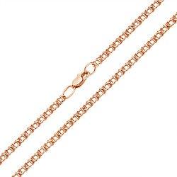 Браслет из красного золота в плетении арабский бисмарк, 4 мм 000002360