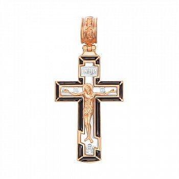 Золотий хрестик у комбінованому кольорі з чорною емаллю 000137838