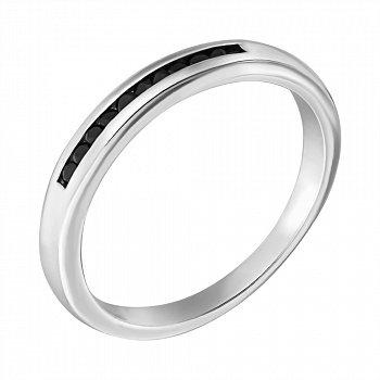 Серебряное кольцо с черными фианитами 000069993