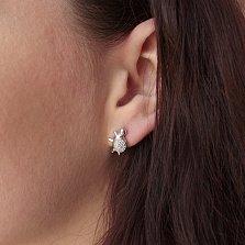 Серебряные серьги-пуссеты Черепашки с цирконием