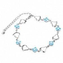 Серебряный браслет с голубым цирконием Любовь