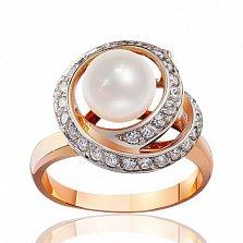 Золотое кольцо с жемчугом и цирконием Океания