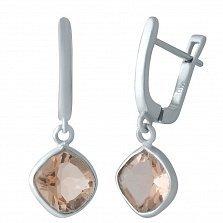 Серебряные серьги-подвески Лаодика с нано морганитом бледно-оранжевого цвета