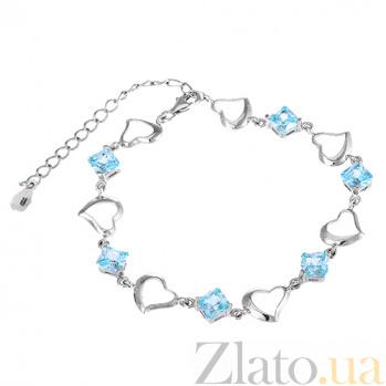 Серебряный браслет с голубым цирконием Любовь 000025879