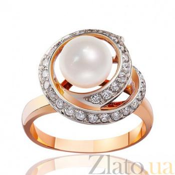 Золотое кольцо с жемчугом и цирконием Океания EDM--КД0335