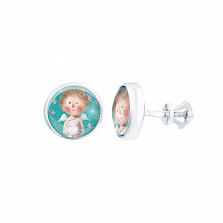 Серебряные серьги-гвоздики с муранским стеклом Ангел-хранитель