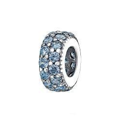 Серебряный шарм с голубыми фианитами 000116394