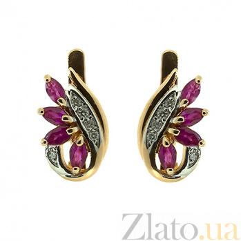 Золотые серьги с бриллиантами и рубинами Чеслава ZMX--ER-6716_K