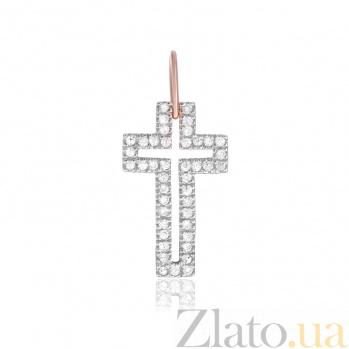 Серебряный крестик Руфина с фианитами и позолотой  SLX--П3Ф/071