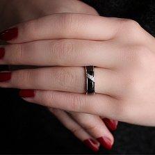 Кольцо из серебра и черной керамики Анелик с фианитами