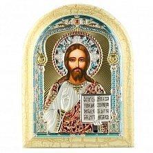 Икона на деревянной основе Иисус Спаситель с цветной эмалью и позолотой, 12х17