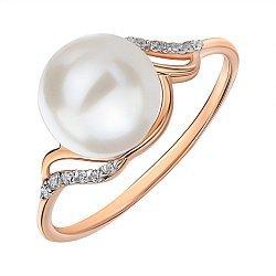 Кольцо из красного золота с жемчугом и фианитами 000145546