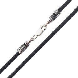 Кожаный шнурок с серебряной застежкой и чернением 000115897