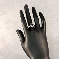 Серебряное кольцо Майто с нано-сапфиром и фианитами