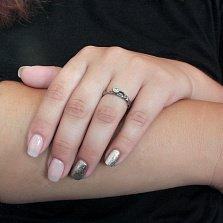 Серебряное кольцо чернёное с цирконием Иллирия