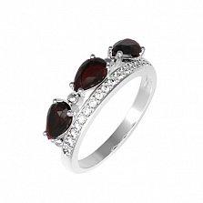 Серебряное кольцо Габриела с гранатом и фианитами