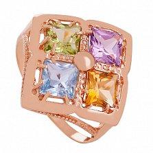 Золотое кольцо Белинда с миксом камней
