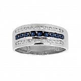 Серебряное кольцо цирконами и сапфирами Биркан