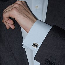 Серебряные запонки Сальваторе с золотыми вставками и ониксом
