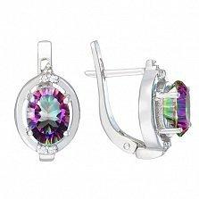 Серебряные серьги Наина с мистик кварцем и фианитами