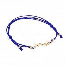Шелковый синий браслет Ветвь оливы в красном золоте