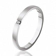 Обручальное кольцо из белого золота  с бриллиантом Богема