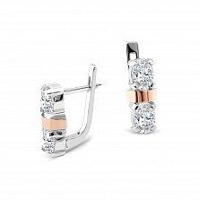 Серебряные серьги Флавия с золотыми накладками, фианитами и родием