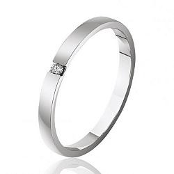 Обручальное кольцо из белого золота с бриллиантом 000001614