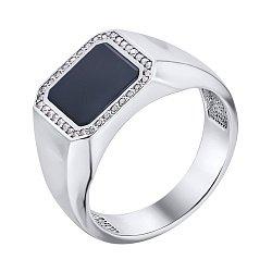 Серебряный перстень-печатка с ониксом и фианитами 000140547