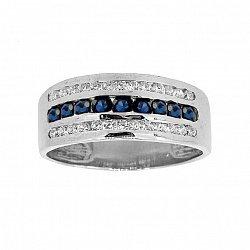 Серебряное кольцо с сапфирами и фианитами 000019088