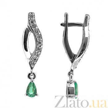Золотые серьги с бриллиантами и изумрудами Кристина ZMX--EDE-6866_K