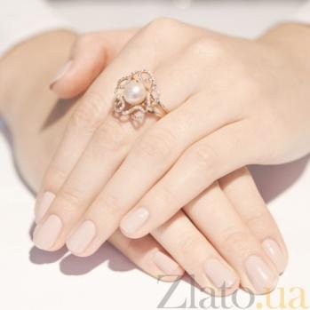 Золотое кольцо с жемчугом Грета Гарбо 12039 сп