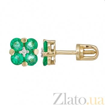 Золотые серьги с изумрудами и бриллиантами Сюзон KBL--С2507/жел/изум