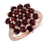 Кольцо из красного золота с гранатами Багровая фантазия