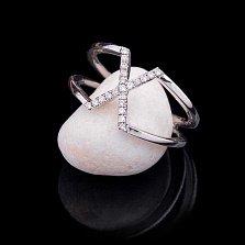 Золотое кольцо Стиль Х в белом цвете с бриллиантами