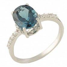 Серебряное кольцо Маддалена с синтезированным топазом лондон и фианитами