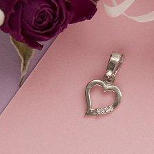 Серебряный подвес Асимметричное сердечко с цирконием