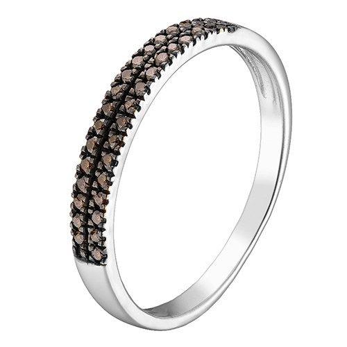 Кольцо в белом золоте Дарина с коньячными бриллиантами
