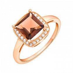 Золотое кольцо Доротея в красном цвете с раухтопазом и фианитами