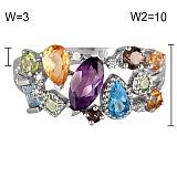 Золотое кольцо с аметистом, кварцами, перидотами, топазами и цитринами Катарина