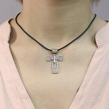 Серебряный крест Защитная Молитва чернёный с позолотой и молитвой на основе