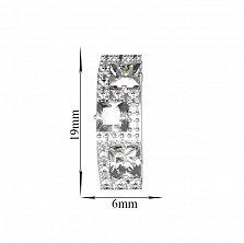 Серебряные серьги Лабиринт с белыми фианитами