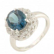 Серебряное кольцо Андреа с топазом лондон и фианитами
