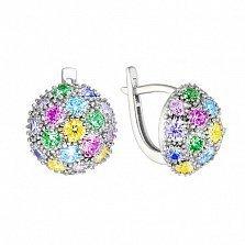 Серебряные серьги Пион с разноцветными фианитами