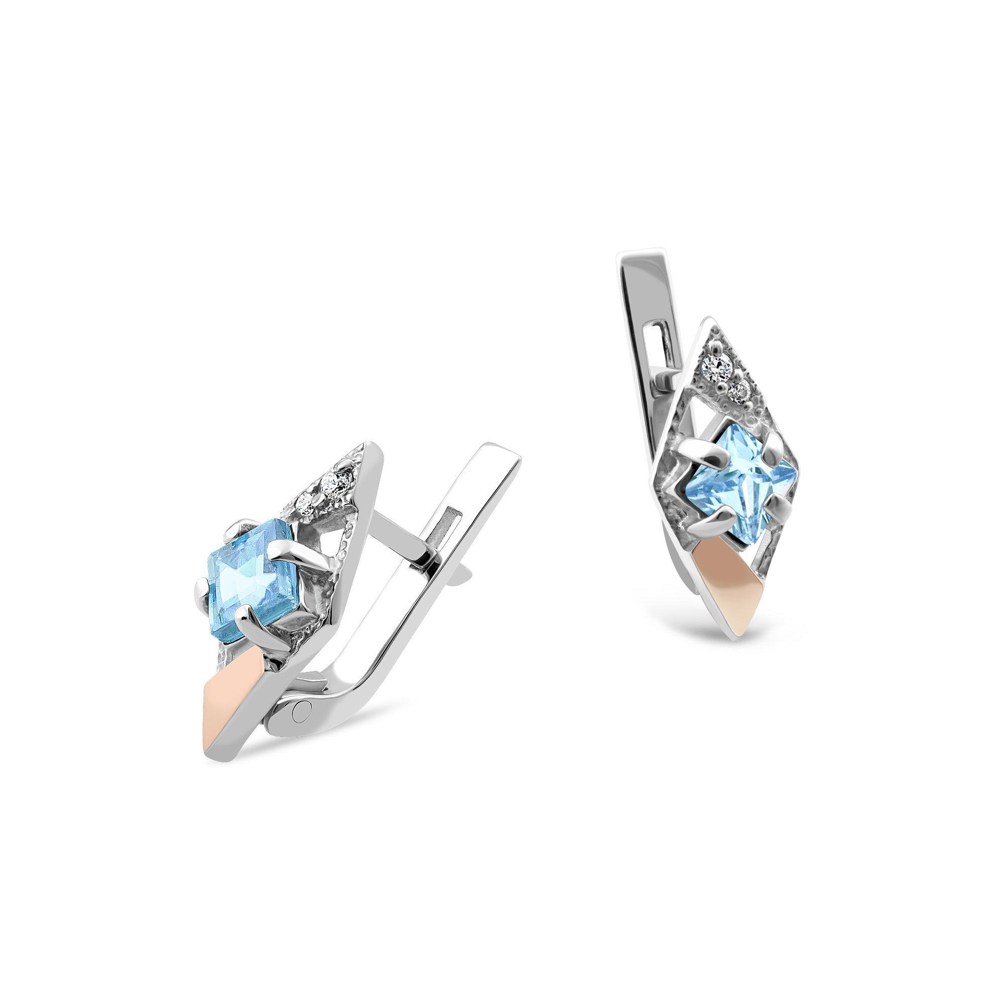Серебряные серьги Одри с золотыми накладками, голубыми топазами и белыми фианитами